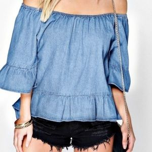 Jane & Delancey chambray off the shoulder top L